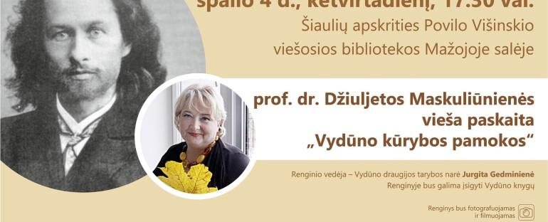 """Paskaita """"Vydūno kūrybos pamokos"""", 2018.10.04"""