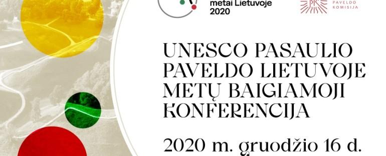 Konferencija UNESCO pasaulio paveldo Lietuvoje prioritetai ir galimybės 2020-12-16